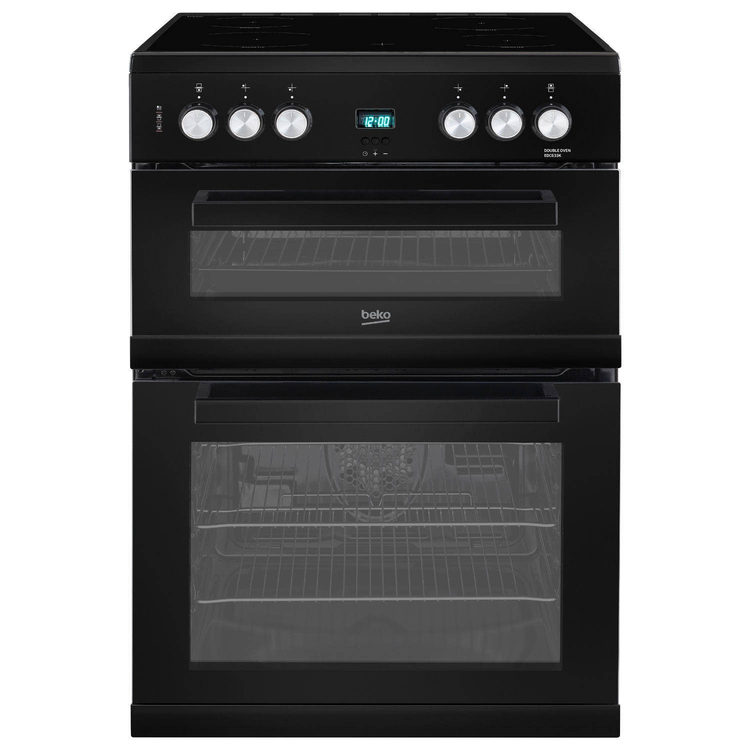 beko edc633k 60cm double oven electric cooker with ceramic. Black Bedroom Furniture Sets. Home Design Ideas