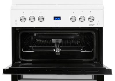 Beko EDG6L33W Double Oven Gas Cooker with Glass Lid - White