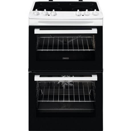 Zanussi ZCV46050WA  55cm Electric Double Oven with Ceramic Hob - White - A/A Rated (Copy)
