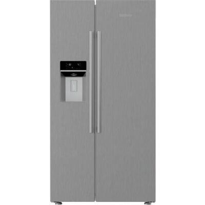Blomberg KWD253PX Non Plumbed Water & Ice American Fridge Freezer - Brushed Steel KWD253PX
