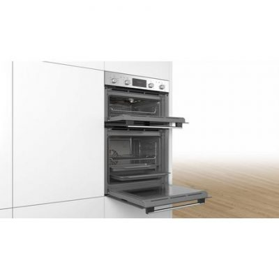 Bosch MBS533BS0B Built In Electric Double Oven with 3D Hot Air - Stainless Steel